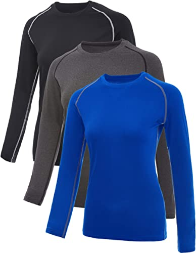 SILKWORLD Women's Compression Shirts Dry Fit Athletic Running Long-Sleeved Sports Workout Baselayer