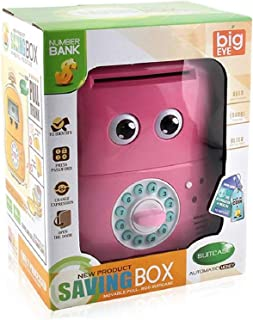 Saving box big eye to store coins and paper money pink