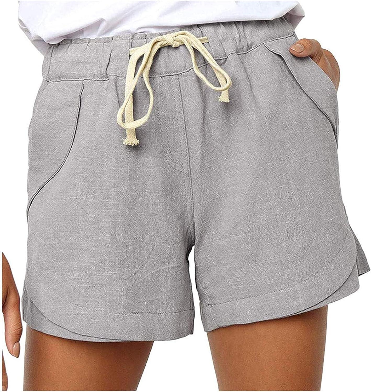 Women's Shorts Miami Mall Summer Casual Drawstring Bea Elastic Waist sale Cotton