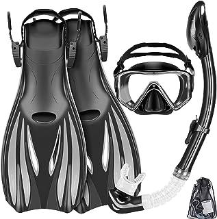 ZEEPORTE Mask Fins Snorkel Set Snorkeling Gear for Adults, Swim Goggles Panoramic View Anti-Fog Anti-Leak, Dry Top Snorkel...