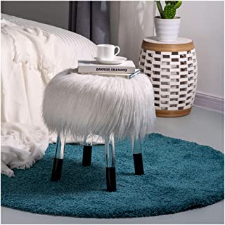 Glitzhome Luxurious Faux Fur Round Stool with Acrylic Legs Bedroom Furniture White 16.14 Inch Diameter
