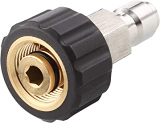 M22 14mm Swivel X 3/8in Plug Pressure Washer Quick Connect Adapter, High Pressure Brass Fitting Quick Coupler Nipple, 5000 PSI