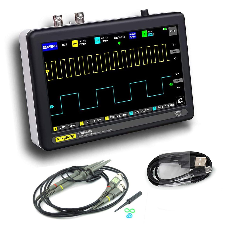 RUZHI Osciloscopio digital digital de 2 canales con ancho de banda de 100 MHz 1GSa / s Osciloscopio de frecuencia de muestreo con pantalla táctil LCD TFT a color de 7 pulgadas, USB recargable