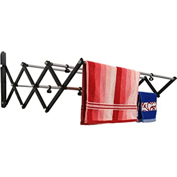 DRY LINE Wall Mount Cloth Drying Stand/Cloth Dryer 3 Feet (12 x 36 inch) Foldable Rust Proof Made in India