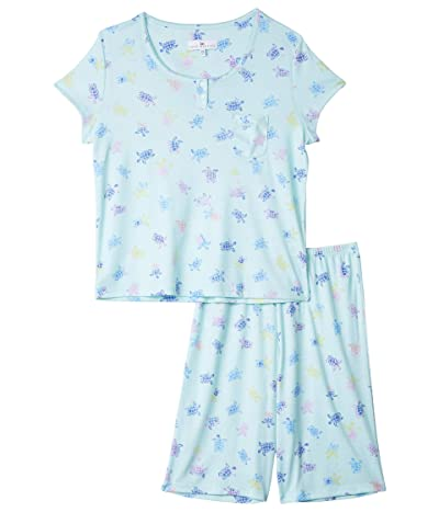 Karen Neuburger Petite Tropical Capsule Short Sleeve Pullover Bermuda Pajama (Turtle Medley Aqua) Women