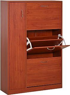 HOMCOM Zapatero Original y Paragüero Organizador para la Entrada Tipo recibidor con 1 Puerta y 3 cajones de Nogal 80x24x120cm