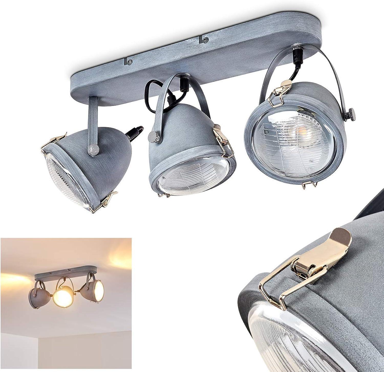Deckenleuchte Butikon, Deckenlampe aus Metall in Grau-Blau, 3-flammig, mit verstellbaren Strahlern, 3 x GU10-Fassung max. 40 Watt, Spot im Retro Vintage Design, für LED Leuchtmittel geeignet