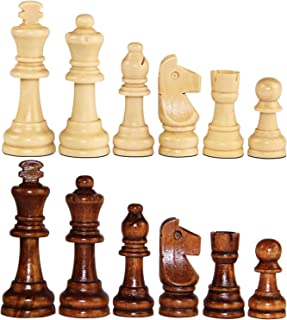 """ASNEY Wooden Chess Pieces, Tournament Staunton Wood Chessmen Pieces Only, 3.15"""" King Figures Chess Game Pawns Figurine Pieces, Includes Storage Bag"""