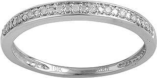 La4ve Diamonds Classy 0.05 Carat Diamond, Channel Set 10K White Gold Round-Cut Diamond Wedding Band & Stackable Set Finger...