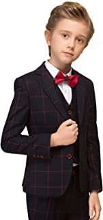 ELPA ELPA Boys Plaid Suit Children's Slim Fit Formal Suits for Wedding Piano Casual Suits