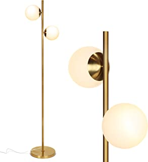 Brightech Sphere - Mid Century Modern 2 Globe Floor Lamp for Living Room Bright Lighting - Contemporary LED Standing Light for Bedrooms & Offices - Gold/Antique Brass Indoor Pole Light