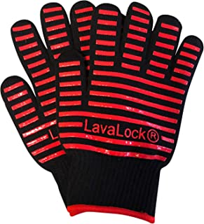LavaLock BBQ Grilling Cooking Heat Resistant Gloves with Silicone Insulated Protection - High Temp Charcoal BBQ Gloves for Kettle, Kamado, BGE, UDS and Offset Cookers Large Size