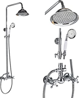 Rozin Bathroom 2 Knobs Mixer Faucet 8-inch Rainfall Shower Set with Handheld Spray Chrome Finish