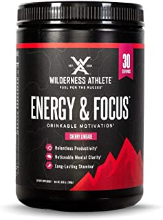 Wilderness Athlete: Energy & Focus, Powder Energy Drink Mix, Cherry Limeade, 30 Serving Tub, Low-Carb, Zero Sugar, No Cras...