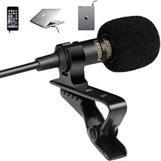 Professional Grade Lavalier Lapel Microphone - Omnidirectional Mic with Easy Clip On System - Perfect for Recording Youtub...