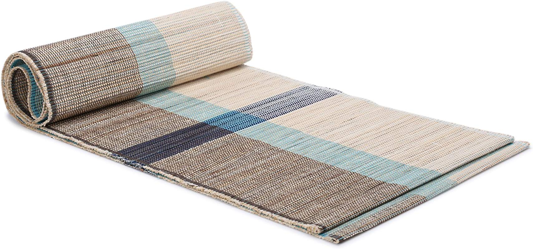 ShalinIndia Handloom Woven Eco Friendly Banana Bark And River Grass Cross Table Runner 13x72 Inch Kitchen Dining Home D Cor With A Cotton Bag