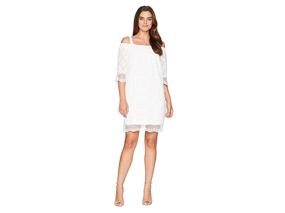 Tribal Off the Shoulder Dress (White) Women