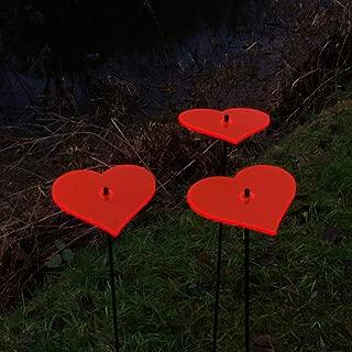 SunCatcher Set of 3: Heart | Fluorescent Garden Ornament on Stick | 150mm/5,9'' Ø and 750mm/29.5'' high | Innovative Home Decor Love Valentine Pot, Colour:Red