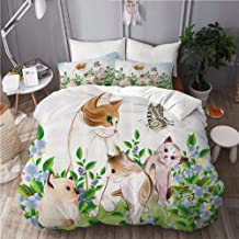 VANKINE Cat Kittens in Flower Meadow Field Happy Cats Family with Butterfly Kids Cartoon Print Decorate Bedding Set 1 Duvet Cover Set with 2 Pillow sham Twin/Twin XL