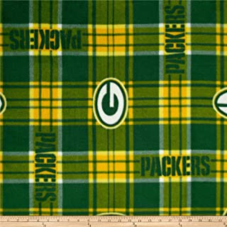 Fabric Traditions NFL Greenbay Packers Plaid Fleece Green/Yellow Fabric By The Yard