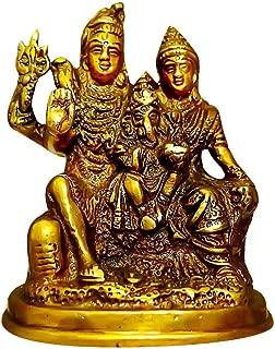 Indian Handicrafts Export Brass Shiva Parvati - Brass Shiv Parivar Shiva Bholenath Shankar Parvati Ganesh Family Murti Idol Statue Sculpture {Dimension: LXBXH: 3.5X2.5X4 inches}