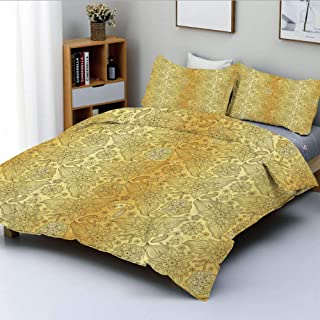 Duplex Print Duvet Cover Set Full Size,Flourish Pattern with Paisley Botanical Garden Theme Curvy Persian Fashion DecorativeDecorative 3 Piece Bedding Set with 2 Pillow Sham,Yellow Brown,Best Gift For
