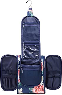 Hanging Travel Toiletry Bag Cosmetic Make up Organizer for Women and Men, Dark Blue Flower New,