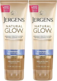 Jergens Natural Glow +Firming Daily Moisturizer, Medium to Tan Skin Tones, 7.5 Ounce (2 Pack)