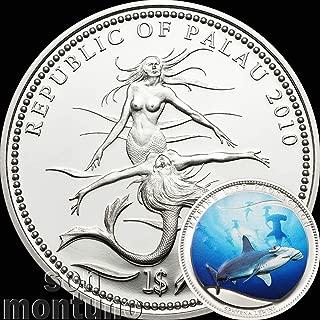 2010 HAMMERHEAD SHARK - Palau Marine Life Protection Silver Plated Copper CuNi One Dollar Coin $1