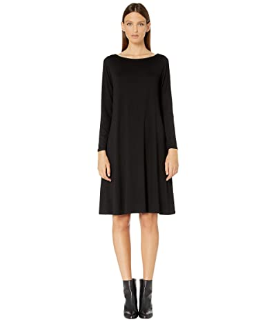 Eileen Fisher Fine Tencel Jersey Bateau Neck Knee Length Dress (Black) Women