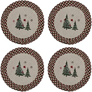 Park Designs Woodland Cardinal Braided Placemats 15 Inches Round, Set of 4