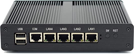 HISTTON Firewall Micro Appliance VPN Router Network Security Industrial Mini PC with Intel Celeron Quad core 4×Gigabit Intel LAN Ports J1900 (2GB RAM, 32GB SSD)
