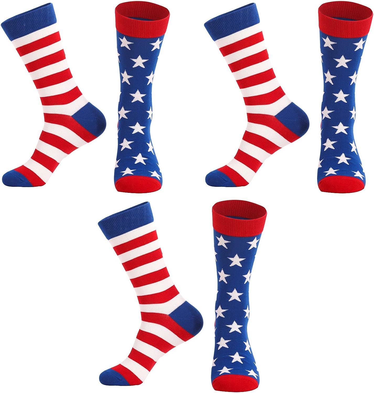 3 Pairs Women Girls Casual Socks Novelty Dress Socks American Flag/Stripe Mid-tube Socks