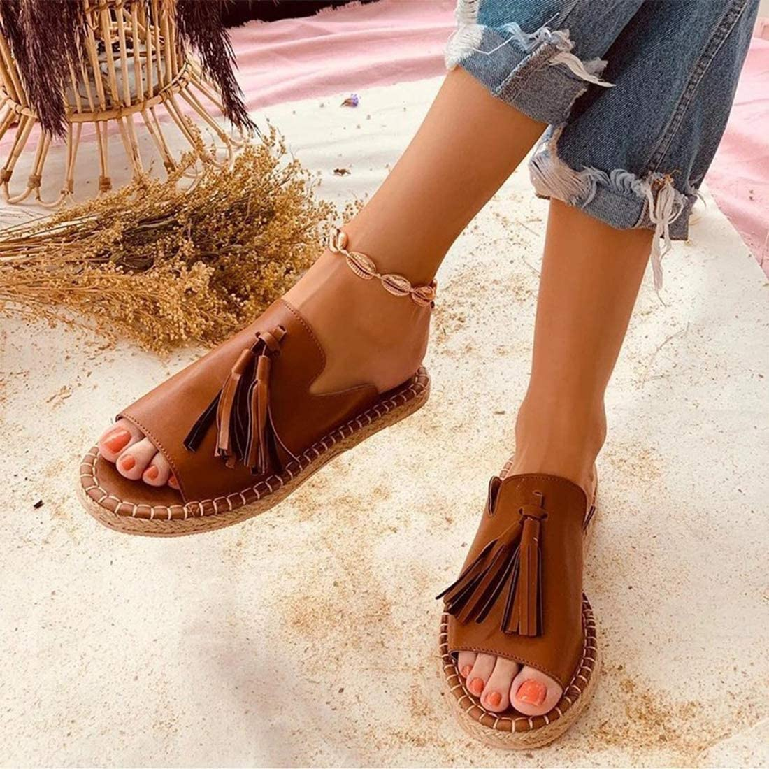 Sandals for Women Platform Tassel Leather Sandal Canvas Espadrille Suede Strap Buckle Slide Mules Heeled Ladies Beach Non Slip Espadrilles,Brown,41
