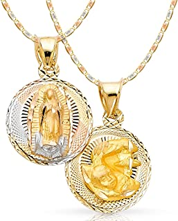 14K Tri Color Gold Diamond Cut Double Side Stamp Virgin Mary Baptism Charm Pendant with 1.5mm Valentino Chain Necklace