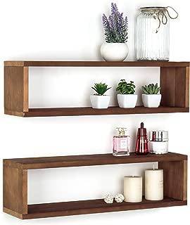 MyGift Natural Wood Finish Wood Wall Mounted 24-Inch Floating Shelf, Rectangular Display Shadow Boxes, Set of 2