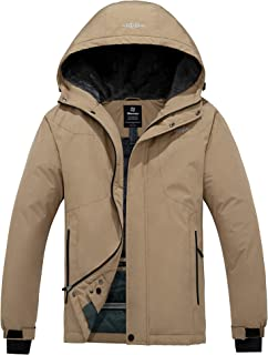 Wantdo Men's Hooded Waterproof Fleece Ski Jacket Windproof Thicken Parka Quilted Winter Coat Windbreaker
