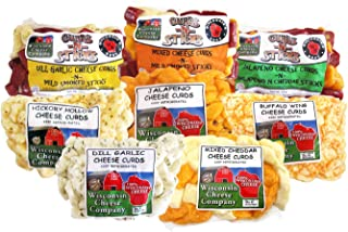 Wisconsin - Deluxe Cheese Curd Sampler - Mixed, Garlic Dill, Jalapeno, Buffalo Wing and Hickory Hollow (Smoked) Cheese Cur...