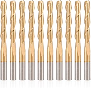 HQMaster CNC Router Bits 1/8 Router Bit 1 8 End Mill Spiral Upcut Titanium Coated 2 Flute Milling Cutter Cutting Tool Set Tungsten Steel 22mm CEL, 38.5mm OAL for MDF Acrylic Wood PVC Hardwood 10 Pack