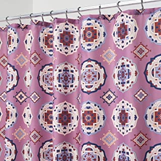 mDesign Decorative Medallion Print Easy Care Fabric Shower Curtain with Reinforced Buttonholes, for Bathroom Showers, Stalls and Bathtubs, Machine Washable- 72 x 72 - Lavender Purple
