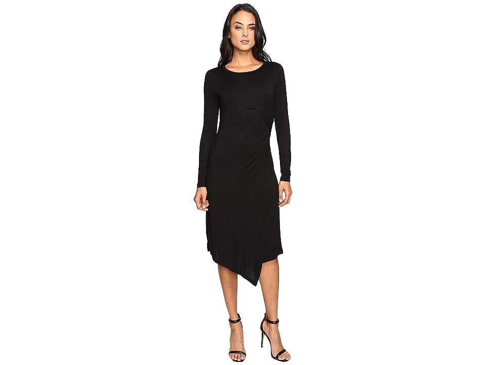 Three Dots Draped Dress (Black) Women