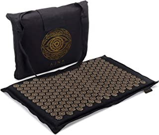 Ajna Acupressure Mat for Massage - Natural Organic Linen Cotton Acupuncture Mat with Bag - Back Pain Relief, Neck Pain Rel...