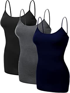 Women's Basic Casual Long Camisole Adjustable Strap Cami Layering Top