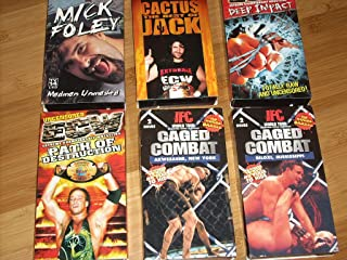 Set of 6 Extreme Wrestling Videocassettes (VHS - NTSC Format) Deep Impact, Path of Destruction, Cactus Jack, Caged Combat (Akwesasne, NY and Biloxi, MS), and Mick Foley Madman Unmasked
