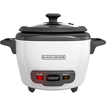 Black+Decker RC503 Uncooked Rice Cooker, 3-cup, White
