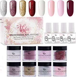 Vafee Dipping Powder Nail Starter Kit for 8 Colors, Gold Silver Red shining Series Colors dipping nail powder Nails System for French Nail Manicure Set No UV/LED Nail Lamp Needed