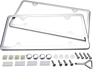 Ohuhu License Plate Frames, 2 Pcs 4 Holes Slim Stainless Steel Polish Mirror License Plate Frame + Chrome Screw Caps