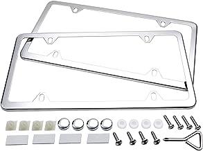 Ohuhu License Plate Frames, 2 Pcs 4 Holes Slim Stainless Steel Polish Mirror License Plate Frame + Chrome Screw Caps