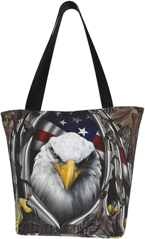 American Flag Usa Eagle Tree Stumps Themed Printed Women Canvas Handbag Zipper Shoulder Bag Work Booksbag Tote Purse Leisure Hobo Bag For Shopping