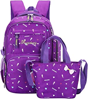 Cute Bowknot Pretty Girl Elementary School Backpack Heart/High Heels Prints Primary Bag Suit with Handbag Pencil Case